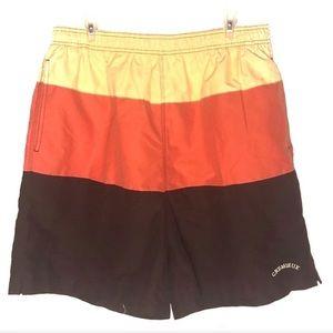 Daniel Cremieux brown orange yellow swim trunks L